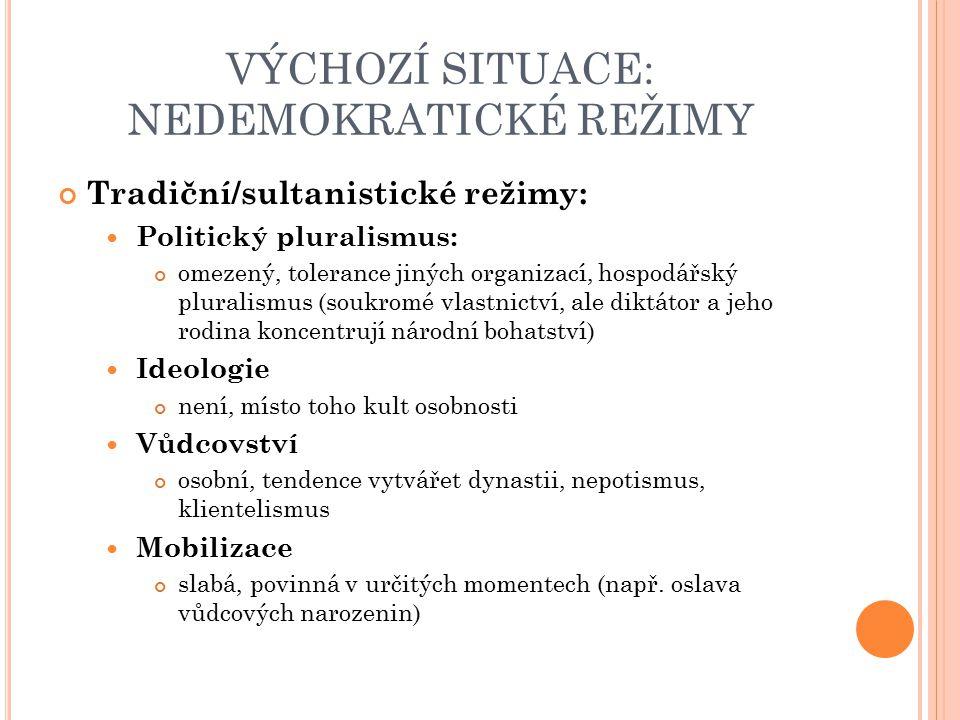 VÝCHOZÍ SITUACE: NEDEMOKRATICKÉ REŽIMY Tradiční/sultanistické režimy: Politický pluralismus: omezený, tolerance jiných organizací, hospodářský plurali