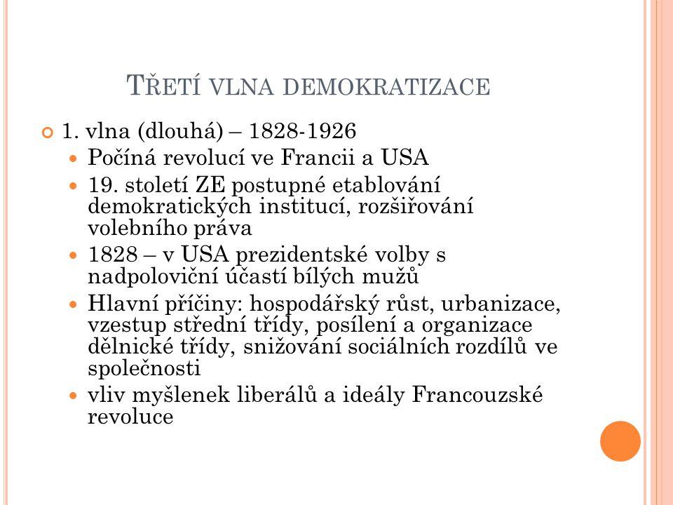 T ŘETÍ VLNA DEMOKRATIZACE 1. vlna (dlouhá) – 1828-1926 Počíná revolucí ve Francii a USA 19. století ZE postupné etablování demokratických institucí, r