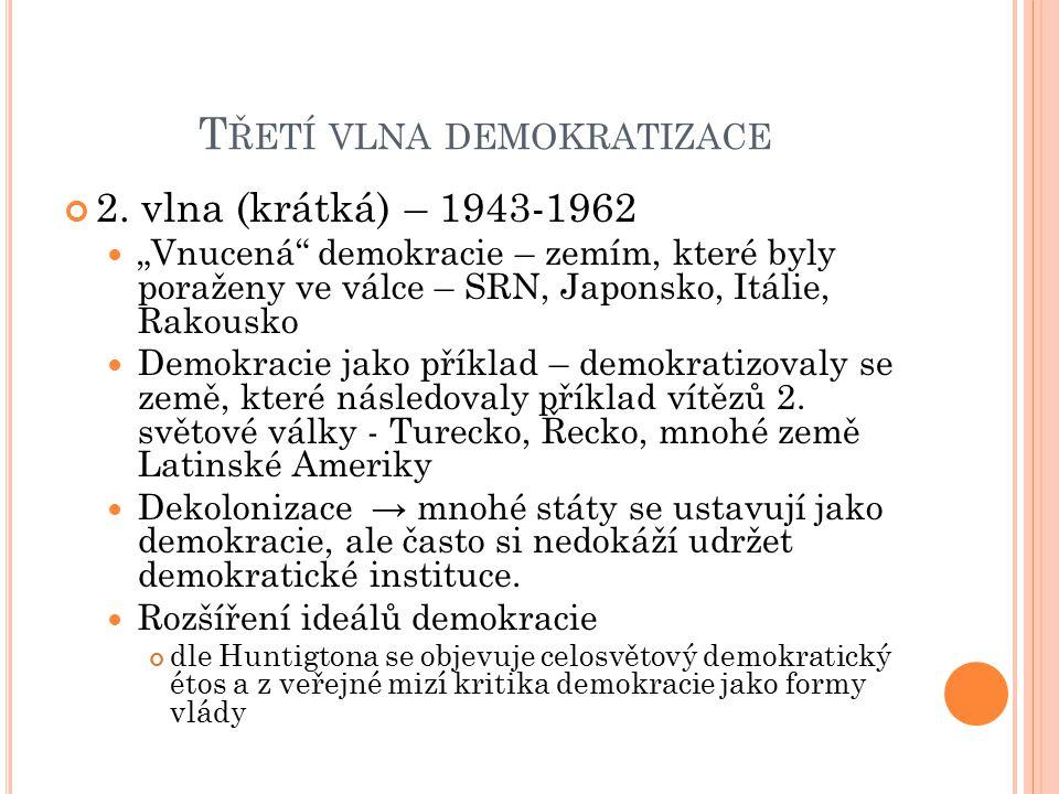 """T ŘETÍ VLNA DEMOKRATIZACE 2. vlna (krátká) – 1943-1962 """"Vnucená"""" demokracie – zemím, které byly poraženy ve válce – SRN, Japonsko, Itálie, Rakousko De"""