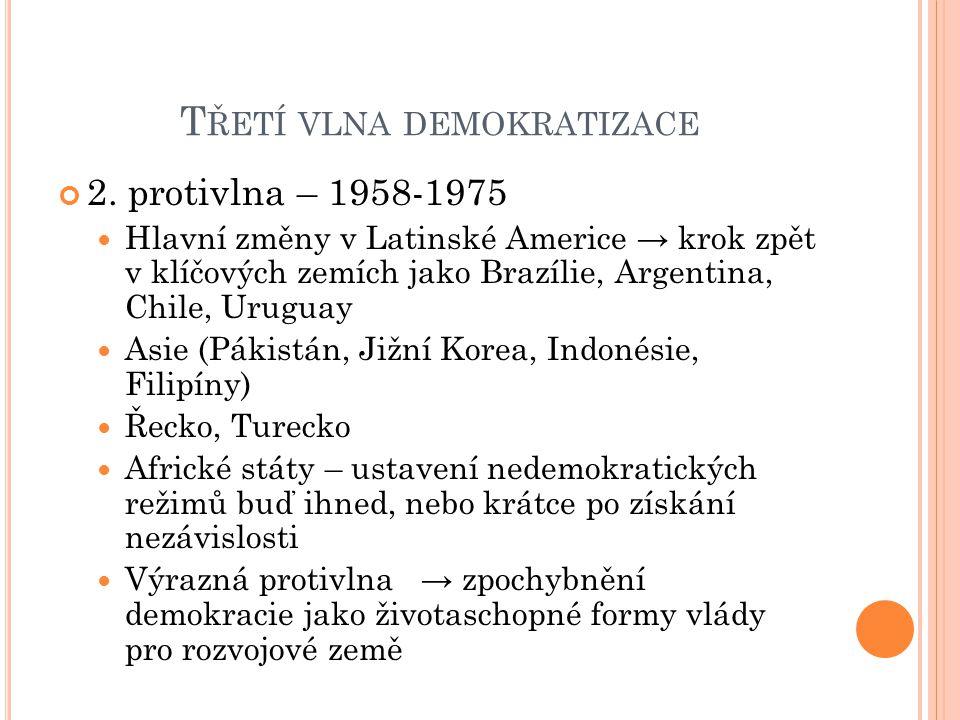 T ŘETÍ VLNA DEMOKRATIZACE 2. protivlna – 1958-1975 Hlavní změny v Latinské Americe → krok zpět v klíčových zemích jako Brazílie, Argentina, Chile, Uru