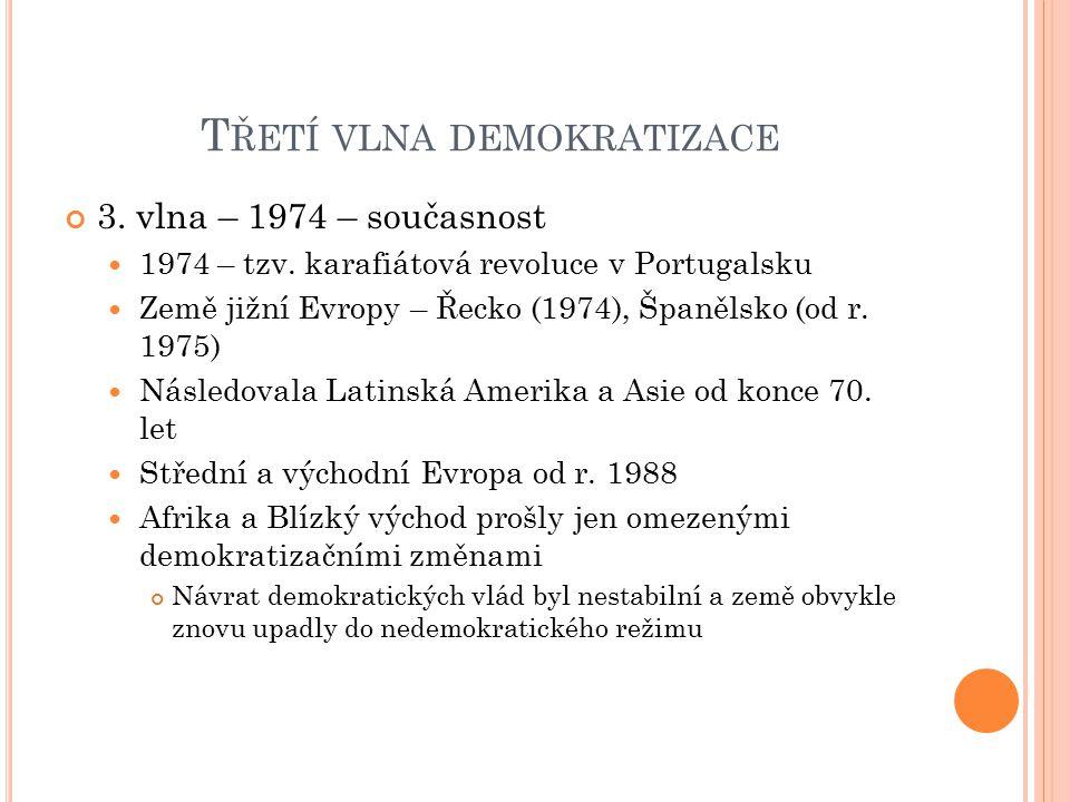T ŘETÍ VLNA DEMOKRATIZACE 3. vlna – 1974 – současnost 1974 – tzv. karafiátová revoluce v Portugalsku Země jižní Evropy – Řecko (1974), Španělsko (od r