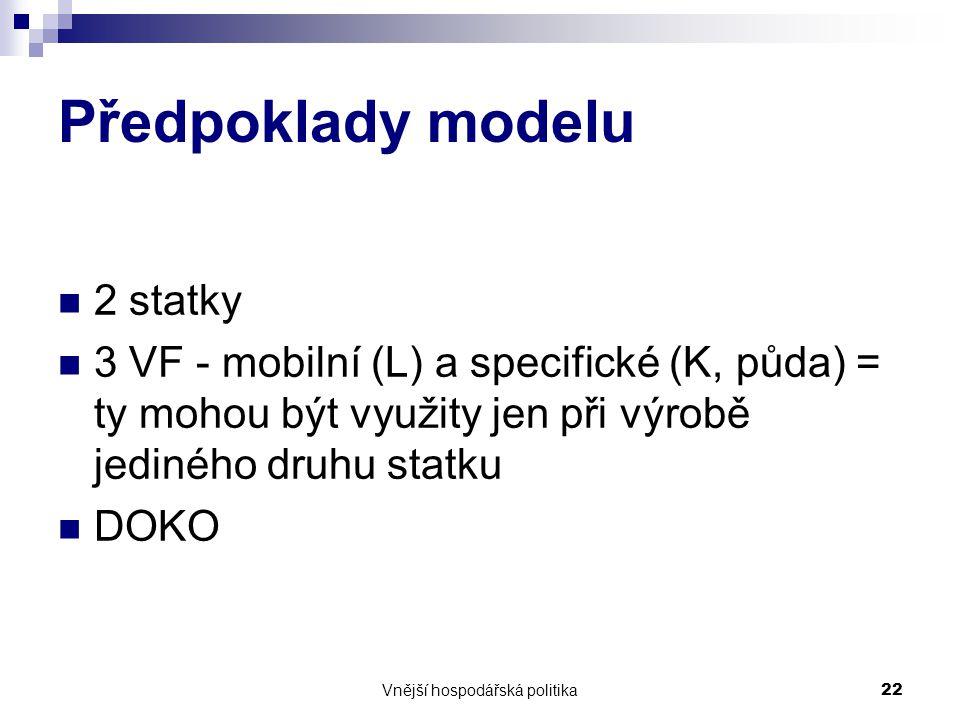 Vnější hospodářská politika22 Předpoklady modelu 2 statky 3 VF - mobilní (L) a specifické (K, půda) = ty mohou být využity jen při výrobě jediného druhu statku DOKO