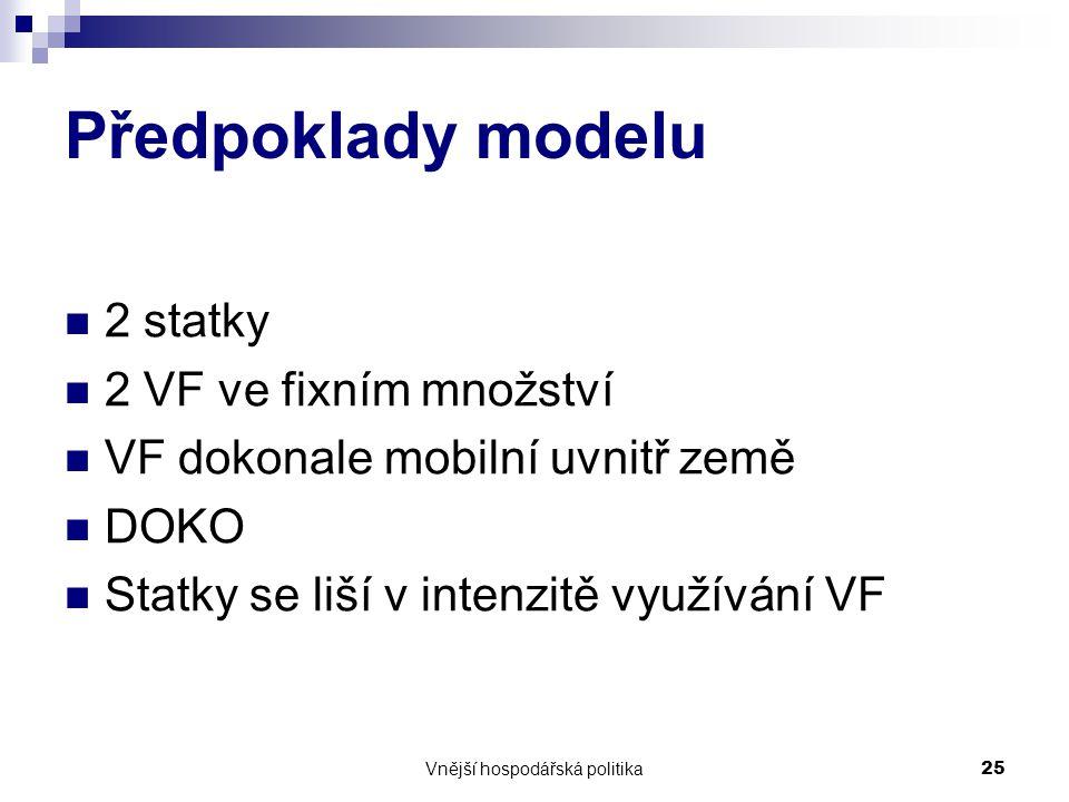 Vnější hospodářská politika25 Předpoklady modelu 2 statky 2 VF ve fixním množství VF dokonale mobilní uvnitř země DOKO Statky se liší v intenzitě využívání VF