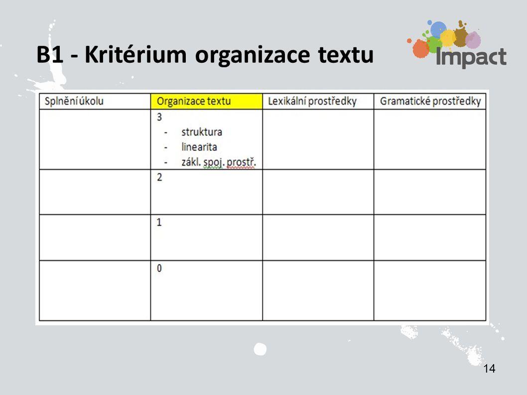B1 - Kritérium organizace textu 14