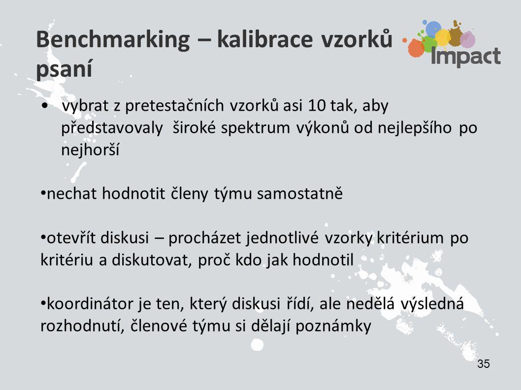 Benchmarking – kalibrace vzorků psaní vybrat z pretestačních vzorků asi 10 tak, aby představovaly široké spektrum výkonů od nejlepšího po nejhorší nec