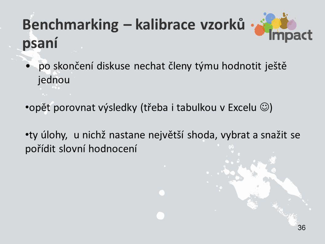 Benchmarking – kalibrace vzorků psaní po skončení diskuse nechat členy týmu hodnotit ještě jednou opět porovnat výsledky (třeba i tabulkou v Excelu )