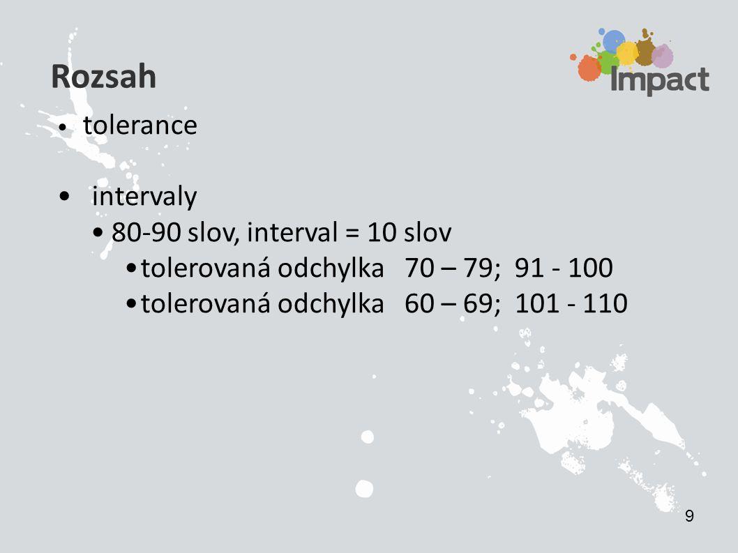Rozsah tolerance intervaly 80-90 slov, interval = 10 slov tolerovaná odchylka 70 – 79; 91 - 100 tolerovaná odchylka 60 – 69; 101 - 110 9