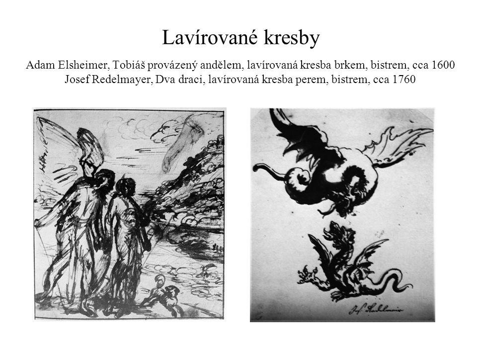 Lavírované kresby Adam Elsheimer, Tobiáš provázený andělem, lavírovaná kresba brkem, bistrem, cca 1600 Josef Redelmayer, Dva draci, lavírovaná kresba
