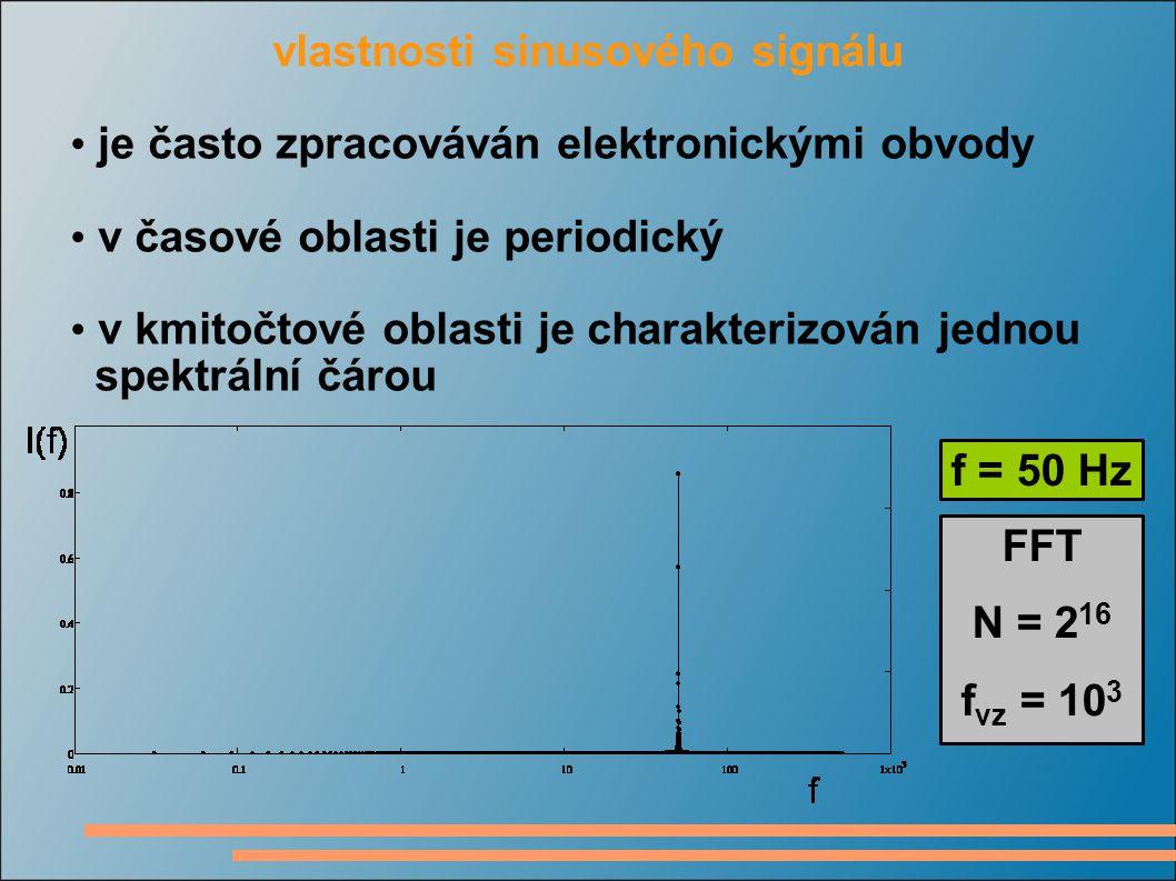 vlastnosti sinusového signálu je často zpracováván elektronickými obvody v časové oblasti je periodický v kmitočtové oblasti je charakterizován jednou spektrální čárou f = 50 Hz FFT N = 2 16 f vz = 10 3