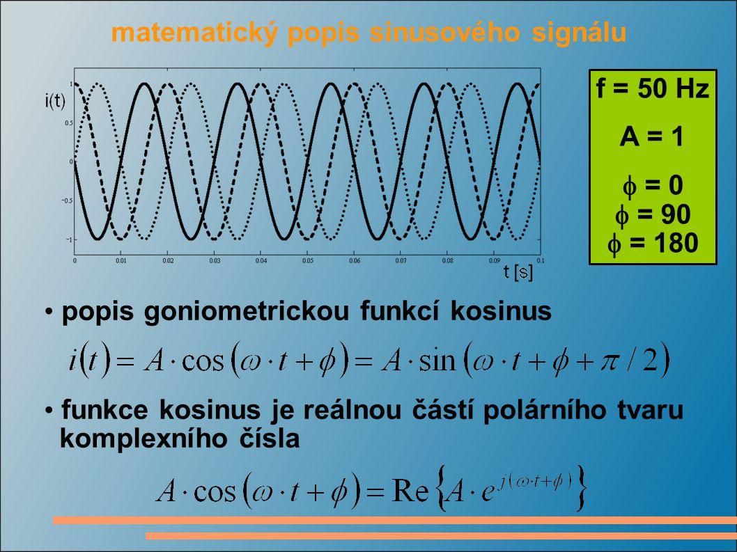 f = 50 Hz A = 1  = 0  = 90  = 180 popis goniometrickou funkcí kosinus matematický popis sinusového signálu funkce kosinus je reálnou částí polárníh