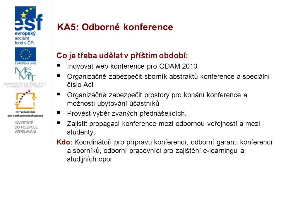 KA5: Odborné konference Co je třeba udělat v příštím období:  Inovovat web konference pro ODAM 2013  Organizačně zabezpečit sborník abstraktů konfer