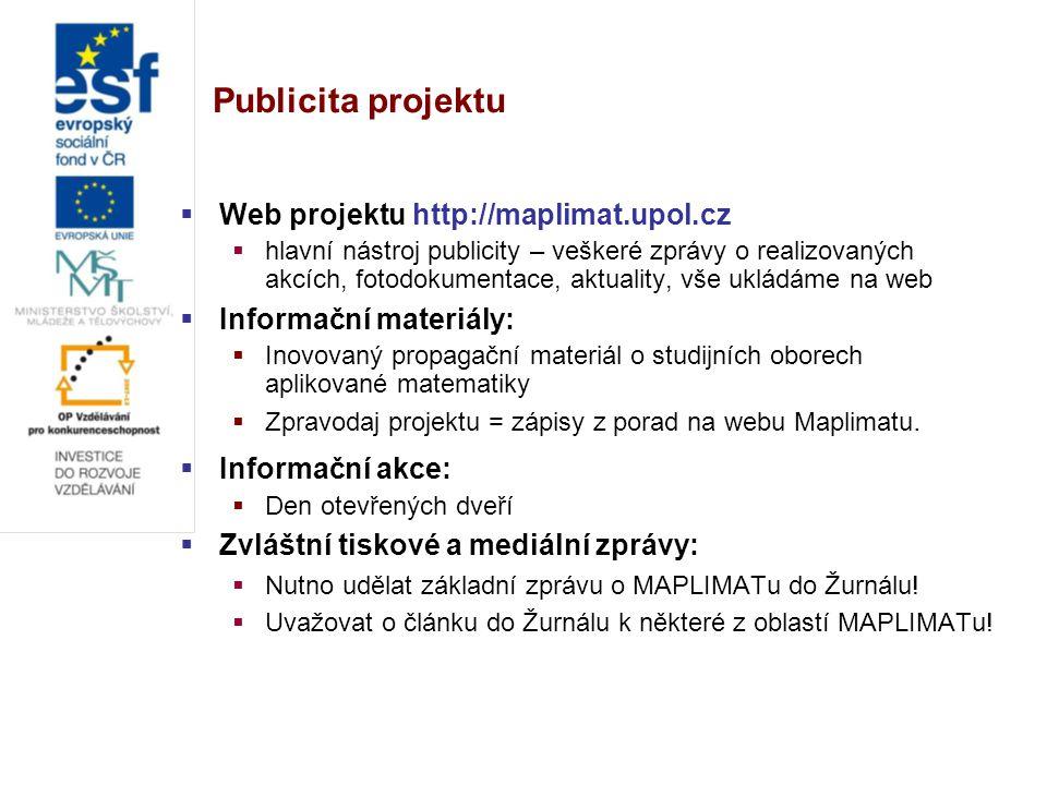 Publicita projektu  Web projektu http://maplimat.upol.cz  hlavní nástroj publicity – veškeré zprávy o realizovaných akcích, fotodokumentace, aktuali