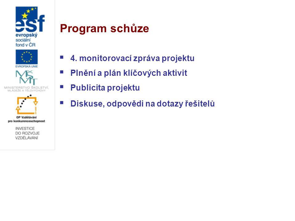 Program schůze  4. monitorovací zpráva projektu  Plnění a plán klíčových aktivit  Publicita projektu  Diskuse, odpovědi na dotazy řešitelů