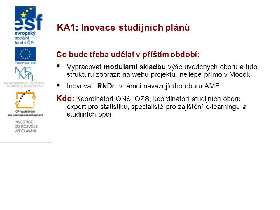 KA1: Inovace studijních plánů Co bude třeba udělat v příštím období:  Vypracovat modulární skladbu výše uvedených oborů a tuto strukturu zobrazit na