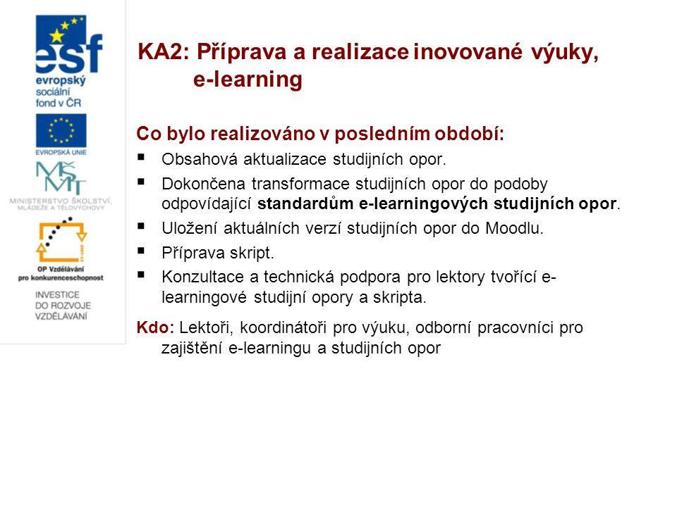 KA2: Příprava a realizace inovované výuky, e-learning Co bylo realizováno v posledním období:  Obsahová aktualizace studijních opor.  Dokončena tran