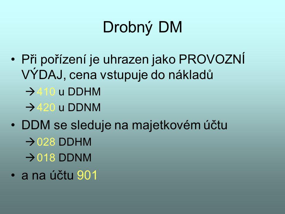Drobný DM Při pořízení je uhrazen jako PROVOZNÍ VÝDAJ, cena vstupuje do nákladů  410 u DDHM  420 u DDNM DDM se sleduje na majetkovém účtu  028 DDHM