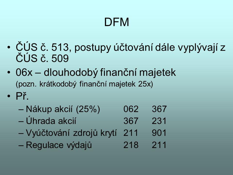 DFM ČÚS č. 513, postupy účtování dále vyplývají z ČÚS č. 509 06x – dlouhodobý finanční majetek (pozn. krátkodobý finanční majetek 25x) Př. –Nákup akci