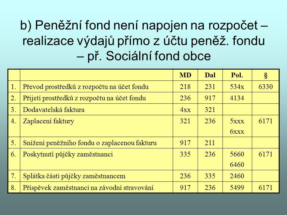 b) Peněžní fond není napojen na rozpočet – realizace výdajů přímo z účtu peněž. fondu – př. Sociální fond obce MDDalPol.§ 1.Převod prostředků z rozpoč