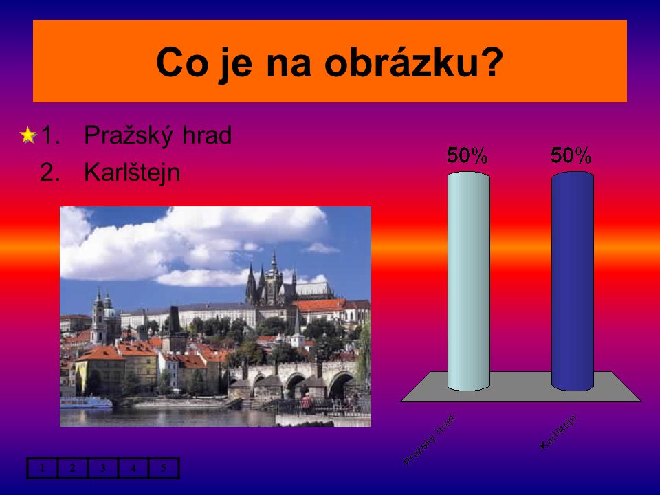 Co je na obrázku 1.Pražský hrad 2.Karlštejn 12345