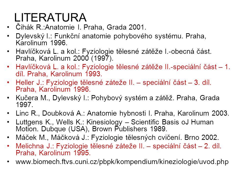 LITERATURA Čihák R.:Anatomie I. Praha, Grada 2001. Dylevský I.: Funkční anatomie pohybového systému. Praha, Karolinum 1996. Havlíčková L. a kol.: Fyzi