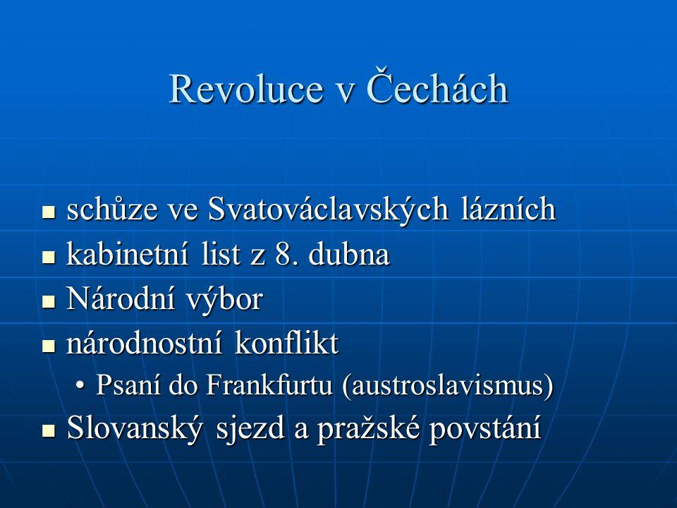 Revoluce v Čechách schůze ve Svatováclavských lázních schůze ve Svatováclavských lázních kabinetní list z 8. dubna kabinetní list z 8. dubna Národní v