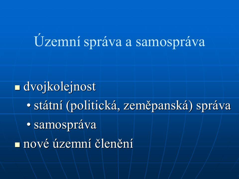 Územní správa a samospráva dvojkolejnost dvojkolejnost státní (politická, zeměpanská) správastátní (politická, zeměpanská) správa samosprávasamospráva