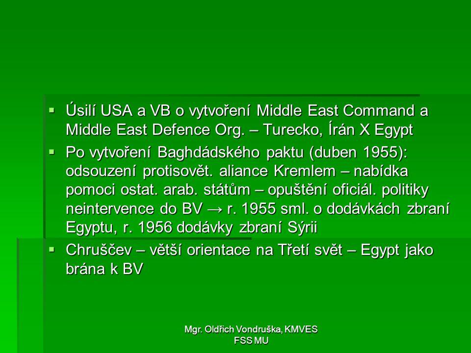 Mgr. Oldřich Vondruška, KMVES FSS MU  Úsilí USA a VB o vytvoření Middle East Command a Middle East Defence Org. – Turecko, Írán X Egypt  Po vytvořen