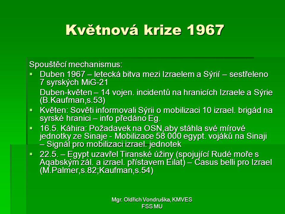 Mgr. Oldřich Vondruška, KMVES FSS MU Květnová krize 1967 Spouštěcí mechanismus:  Duben 1967 – letecká bitva mezi Izraelem a Sýrií – sestřeleno 7 syrs