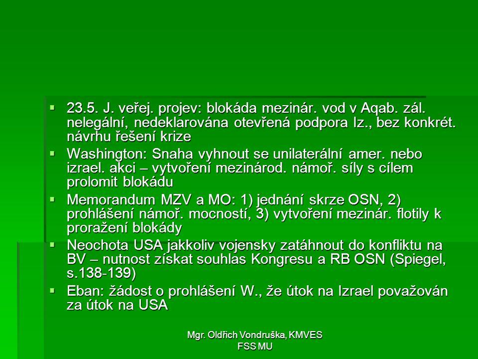 Mgr. Oldřich Vondruška, KMVES FSS MU  23.5. J. veřej. projev: blokáda mezinár. vod v Aqab. zál. nelegální, nedeklarována otevřená podpora Iz., bez ko