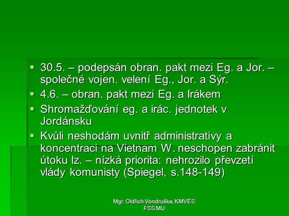 Mgr. Oldřich Vondruška, KMVES FSS MU  30.5. – podepsán obran. pakt mezi Eg. a Jor. – společné vojen. velení Eg., Jor. a Sýr.  4.6. – obran. pakt mez