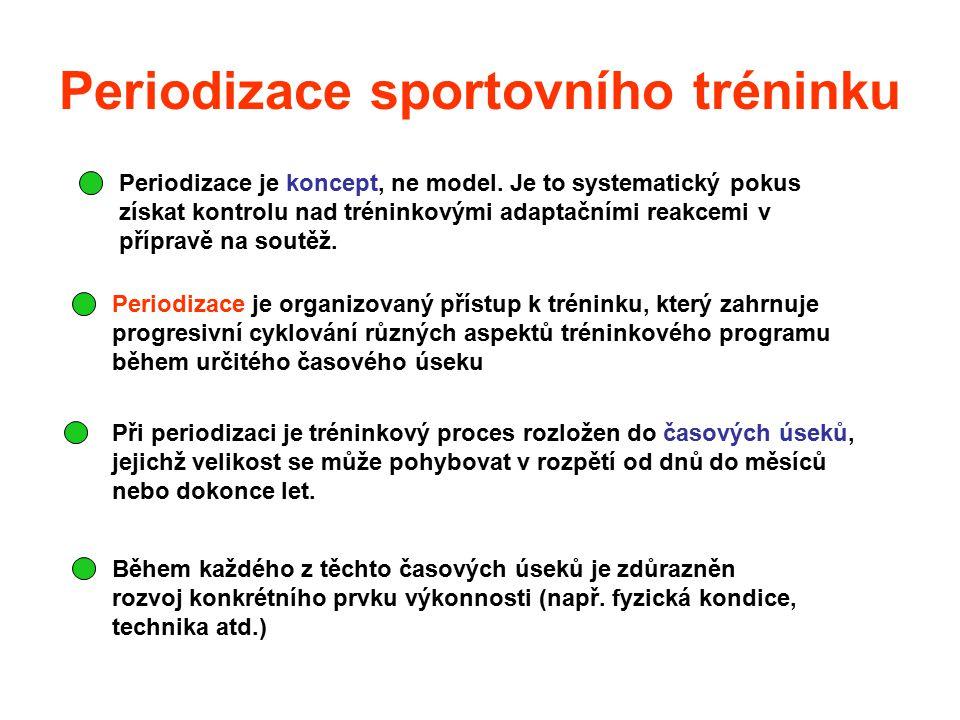 Periodizace sportovního tréninku Periodizace je koncept, ne model. Je to systematický pokus získat kontrolu nad tréninkovými adaptačními reakcemi v př