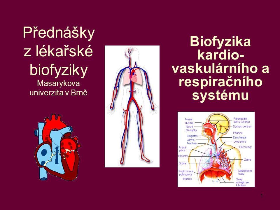 1 Přednášky z lékařské biofyziky Masarykova univerzita v Brně Biofyzika kardio- vaskulárního a respiračního systému