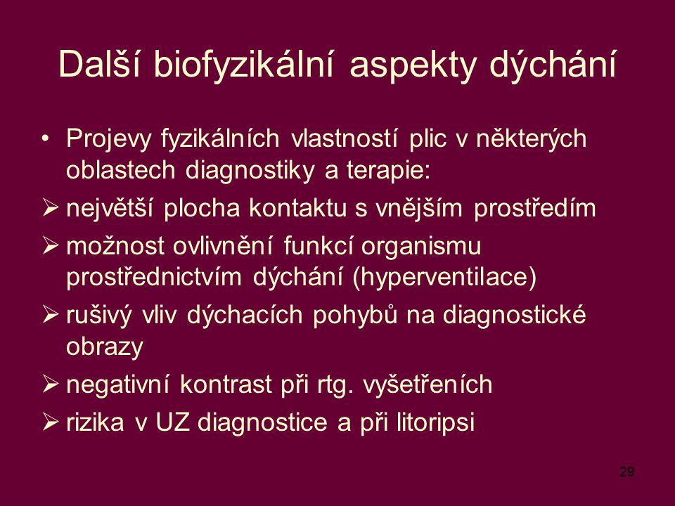 29 Další biofyzikální aspekty dýchání Projevy fyzikálních vlastností plic v některých oblastech diagnostiky a terapie:  největší plocha kontaktu s vn