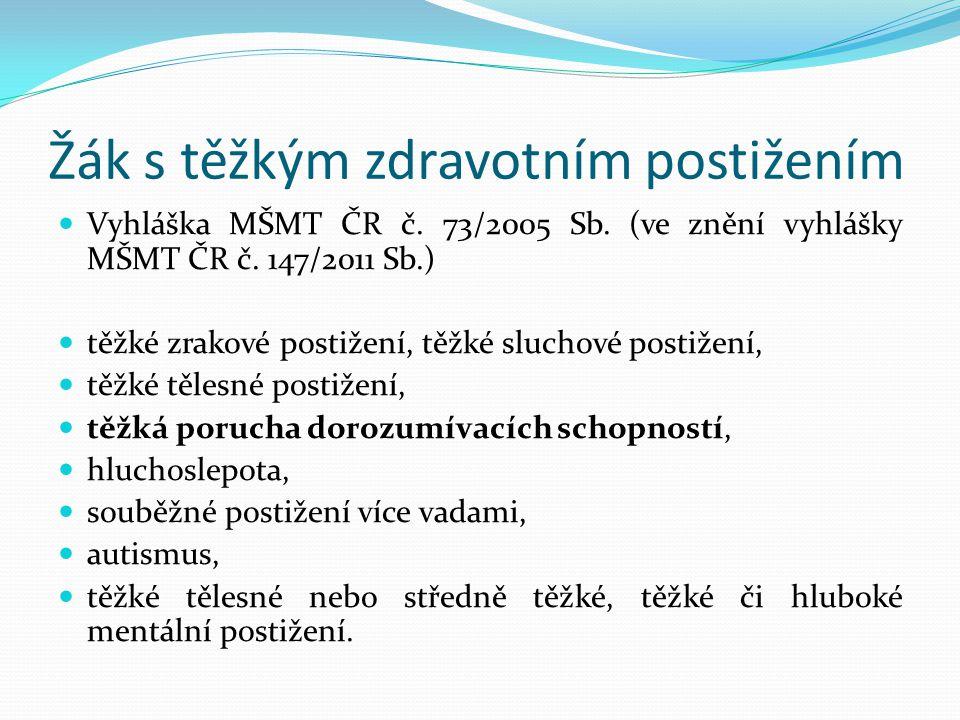 Žák s těžkým zdravotním postižením Vyhláška MŠMT ČR č.