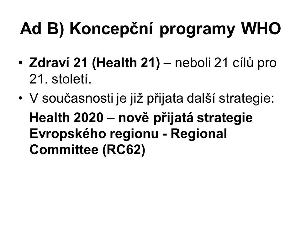 Ad B) Koncepční programy WHO Zdraví 21 (Health 21) – neboli 21 cílů pro 21.