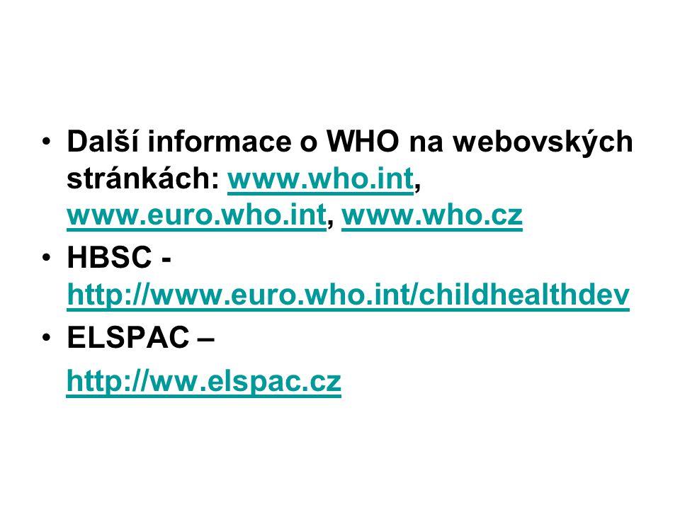 Další informace o WHO na webovských stránkách: www.who.int, www.euro.who.int, www.who.czwww.who.int www.euro.who.intwww.who.cz HBSC - http://www.euro.who.int/childhealthdev http://www.euro.who.int/childhealthdev ELSPAC – http://ww.elspac.czhttp://ww.elspac.cz