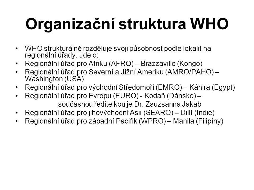Organizační struktura WHO WHO strukturálně rozděluje svoji působnost podle lokalit na regionální úřady.