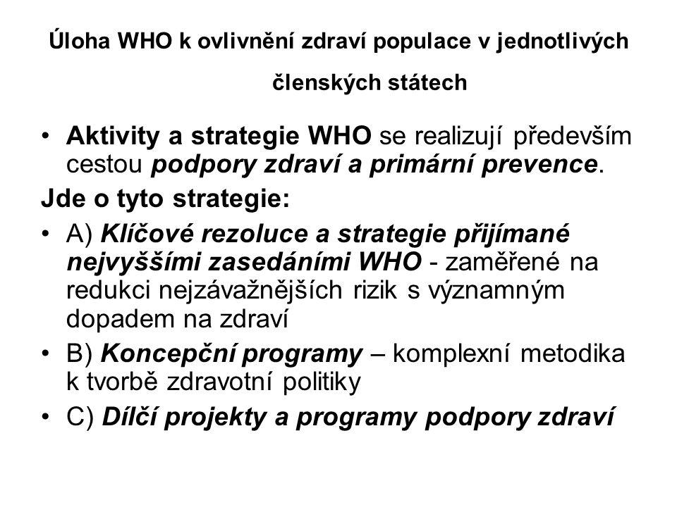 Úloha WHO k ovlivnění zdraví populace v jednotlivých členských státech Aktivity a strategie WHO se realizují především cestou podpory zdraví a primární prevence.