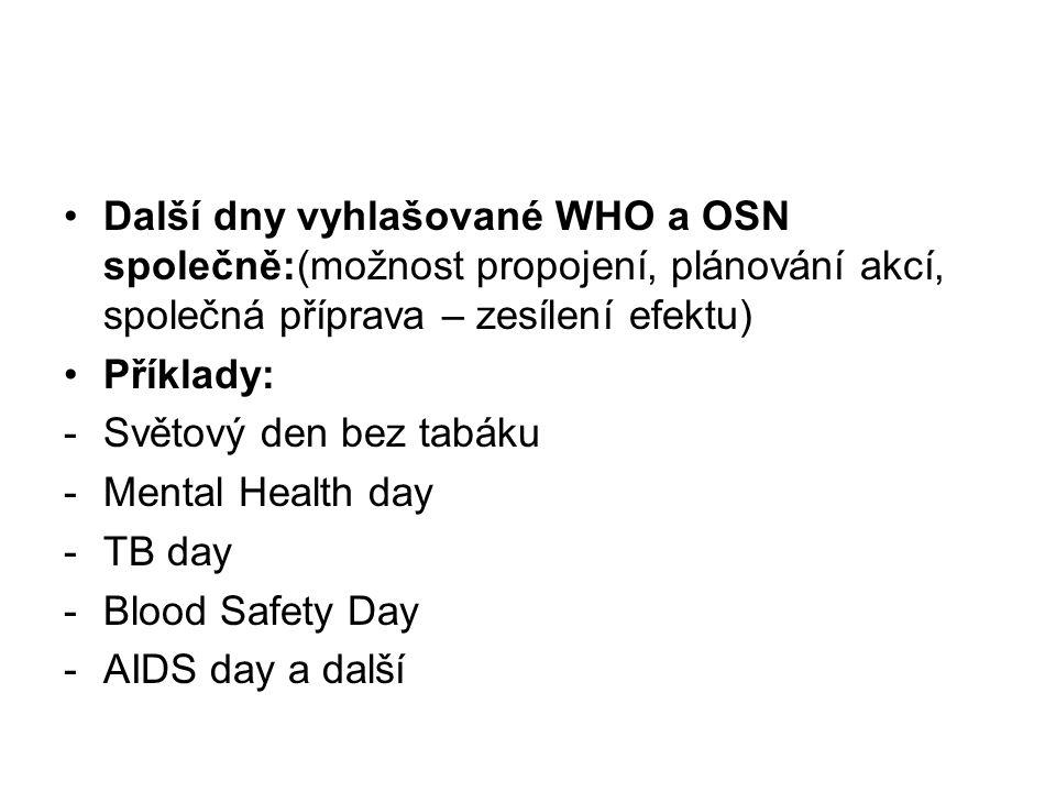 Další dny vyhlašované WHO a OSN společně:(možnost propojení, plánování akcí, společná příprava – zesílení efektu) Příklady: -Světový den bez tabáku -Mental Health day -TB day -Blood Safety Day -AIDS day a další