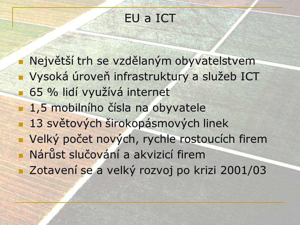 Problémy evropského trhu ICT Přetrvávající fragmentace trhu Nedostatečná podpora VaV (1/2 úrovně USA) Malé množství nových firem světového formátu (operujících především na internetu) Nedostatečné mezinárodní propojení Nedostatek kvalifikovaných lidí Regionalismus malých a středních firem