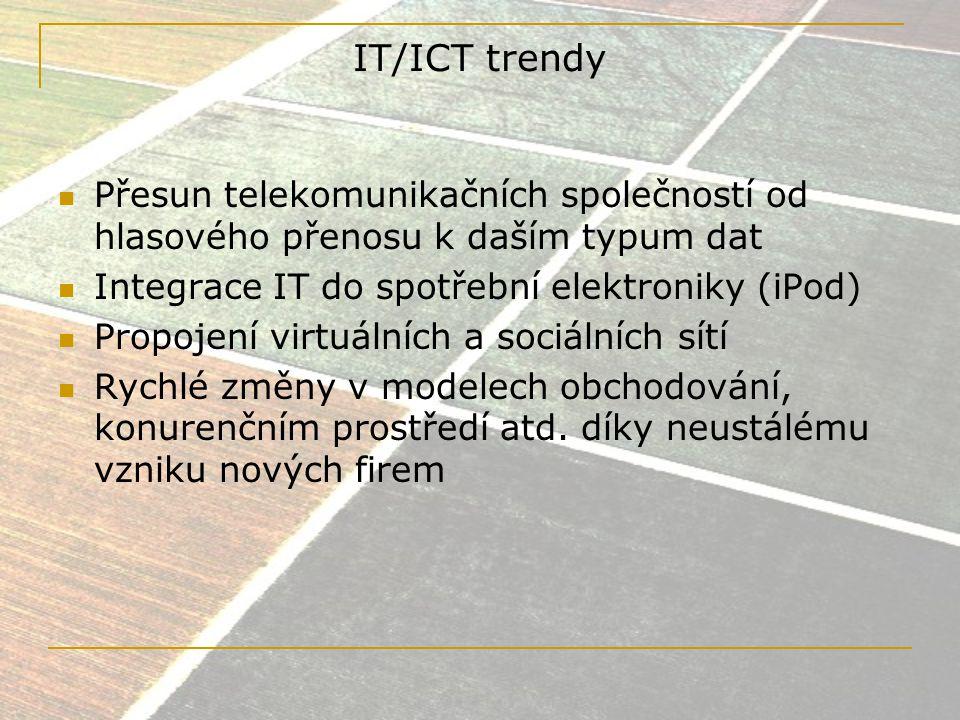Světový trh ICT/IT Nynější rozvoj se odehrává především v: - nových členských zemích EU - BRICS - Čína (6.