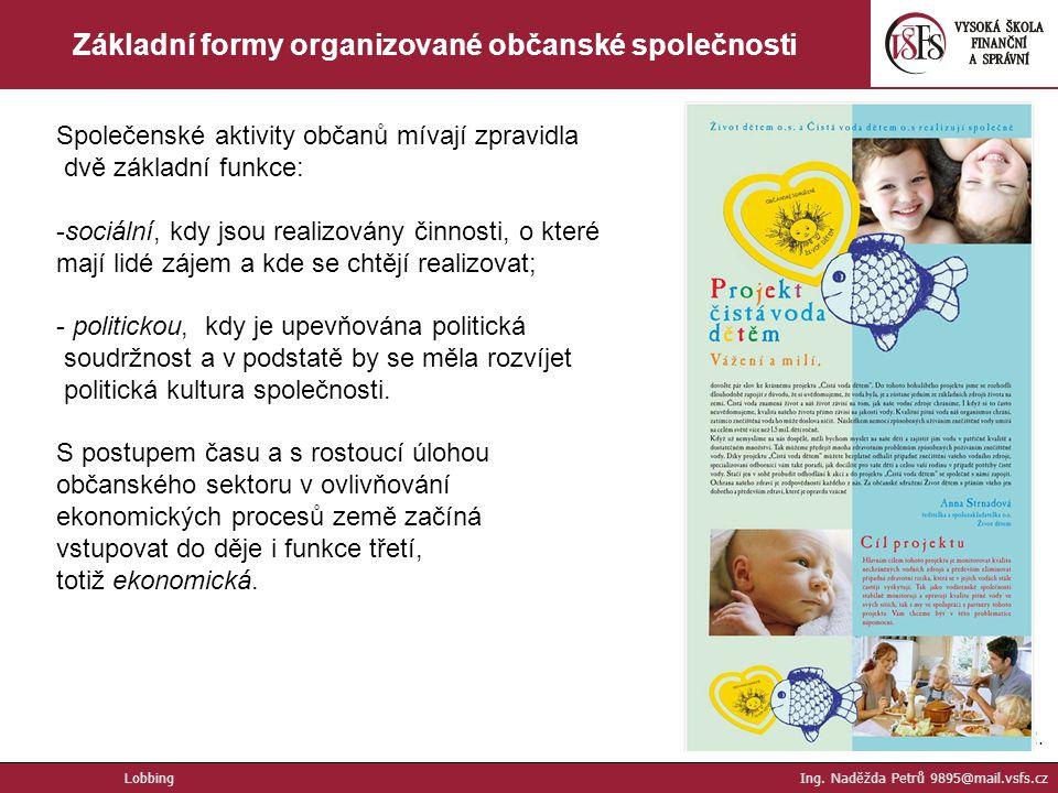 12. Základní formy organizované občanské společnosti Společenské aktivity občanů mívají zpravidla dvě základní funkce: -sociální, kdy jsou realizovány