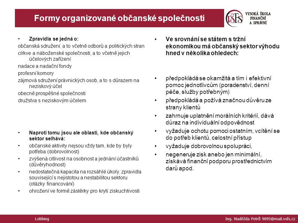 Formy organizované občanské společnosti Zpravidla se jedná o: občanská sdružení, a to včetně odborů a politických stran církve a náboženské společnost