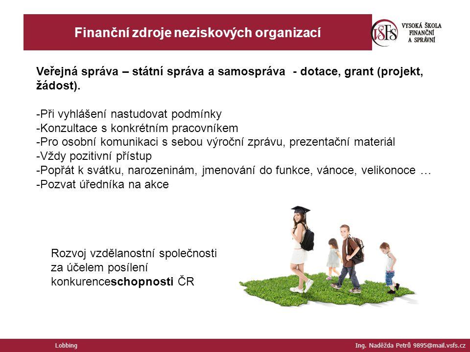 Finanční zdroje neziskových organizací Lobbing Ing. Naděžda Petrů 9895@mail.vsfs.cz Veřejná správa – státní správa a samospráva - dotace, grant (proje