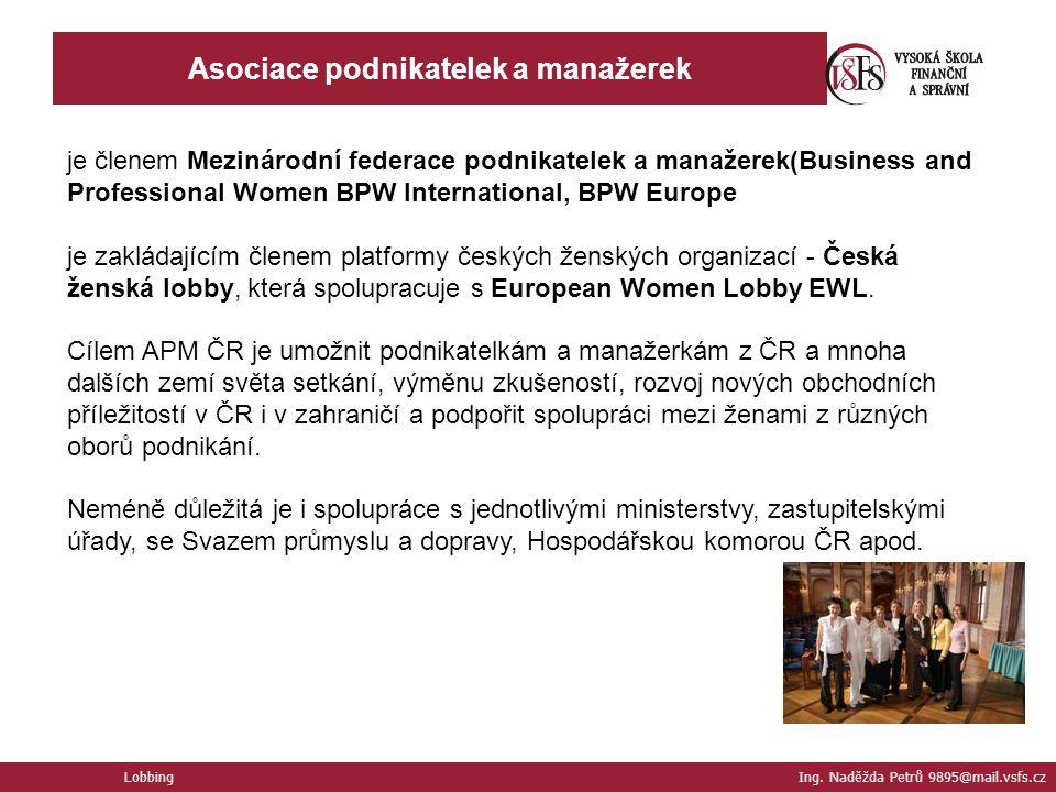 Lobbing Ing. Naděžda Petrů 9895@mail.vsfs.cz Asociace podnikatelek a manažerek je členem Mezinárodní federace podnikatelek a manažerek(Business and Pr