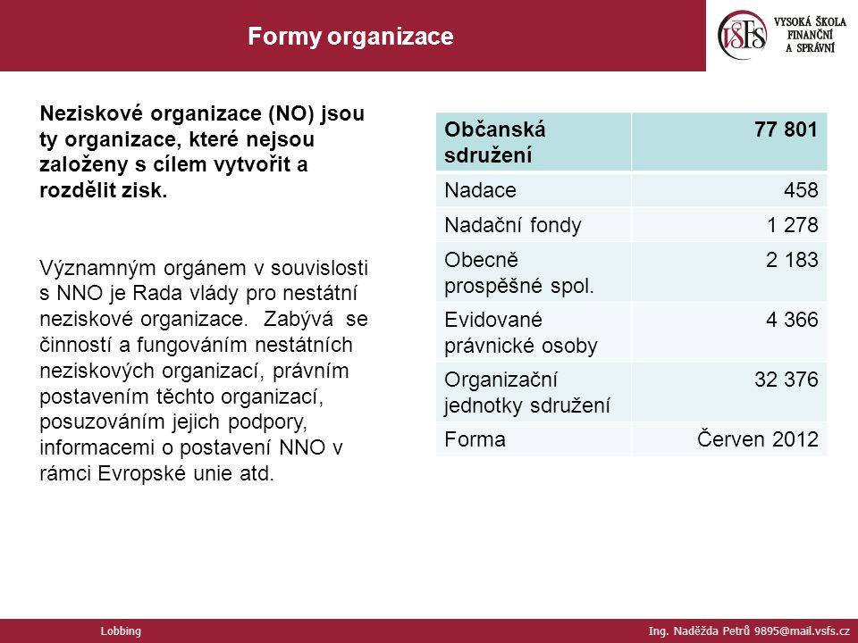 Neziskové organizace (NO) jsou ty organizace, které nejsou založeny s cílem vytvořit a rozdělit zisk. Významným orgánem v souvislosti s NNO je Rada vl