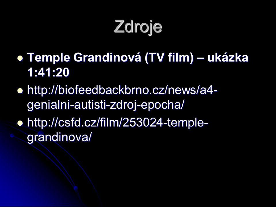 Zdroje Temple Grandinová (TV film) – ukázka 1:41:20 Temple Grandinová (TV film) – ukázka 1:41:20 http://biofeedbackbrno.cz/news/a4- genialni-autisti-zdroj-epocha/ http://biofeedbackbrno.cz/news/a4- genialni-autisti-zdroj-epocha/ http://csfd.cz/film/253024-temple- grandinova/ http://csfd.cz/film/253024-temple- grandinova/