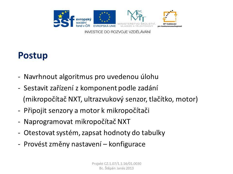 Projekt CZ.1.07/1.1.16/01.0030 Bc. Štěpán Janás 2013 - Navrhnout algoritmus pro uvedenou úlohu - Sestavit zařízení z komponent podle zadání (mikropočí