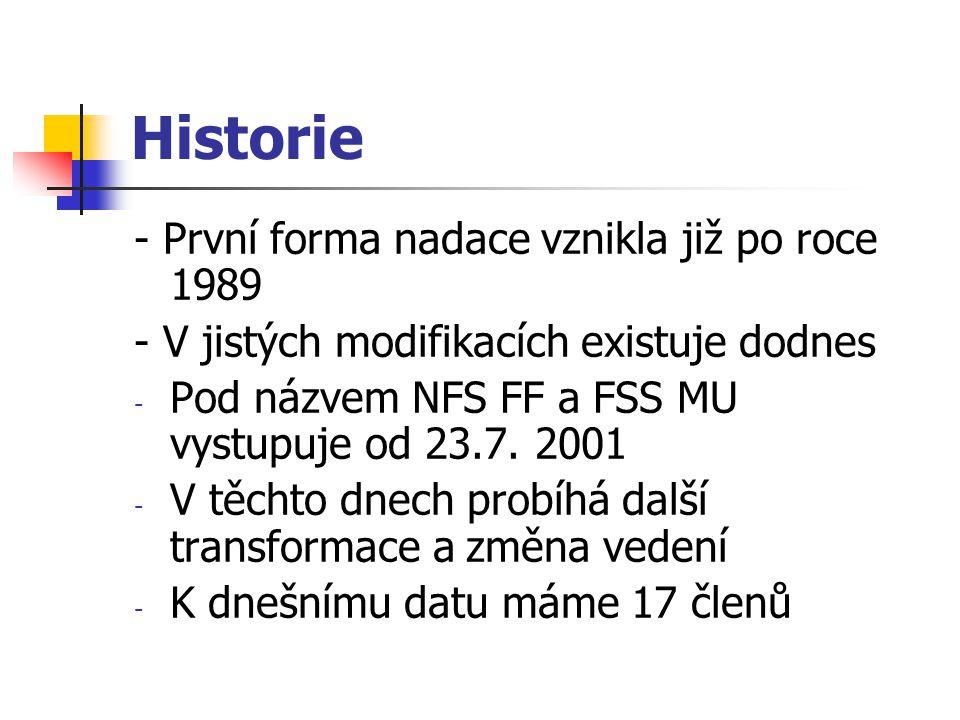 Historie - První forma nadace vznikla již po roce 1989 - V jistých modifikacích existuje dodnes - Pod názvem NFS FF a FSS MU vystupuje od 23.7.