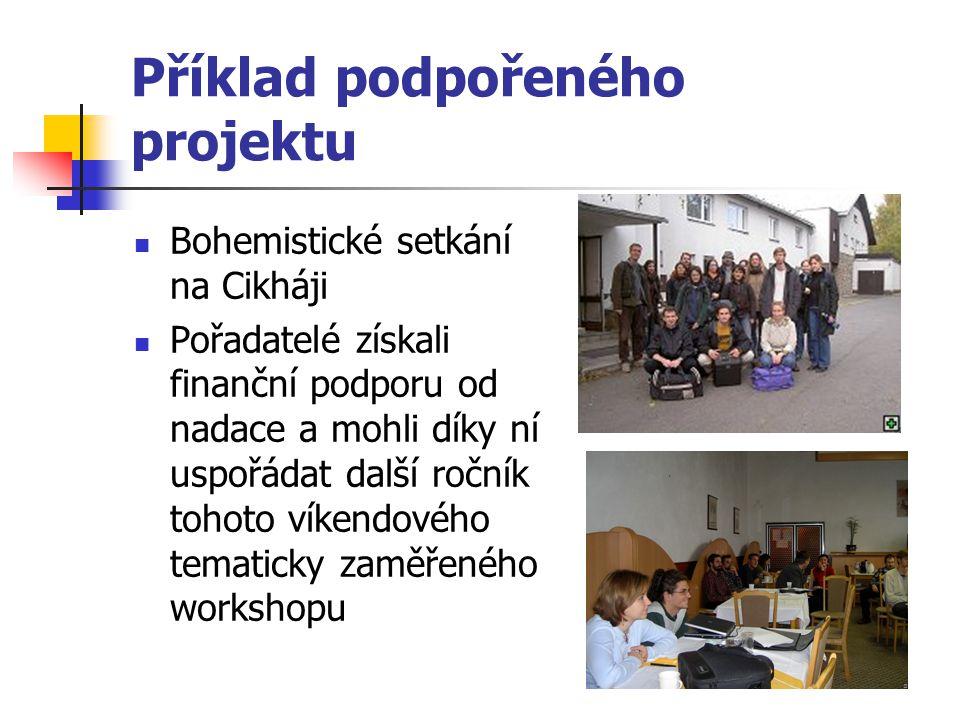 Příklad podpořeného projektu Bohemistické setkání na Cikháji Pořadatelé získali finanční podporu od nadace a mohli díky ní uspořádat další ročník tohoto víkendového tematicky zaměřeného workshopu